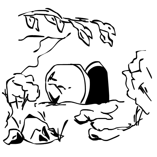 Jesus Coming Out Of The Tomb Coloring Page Tomb in the garden